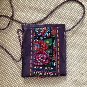Embroidered purple leather small purse
